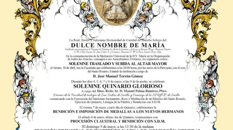 La Hermandad del Dulce Nombre comienza los Solemnes Cultos  con el Solemne Quinario a la Santisima Virgen