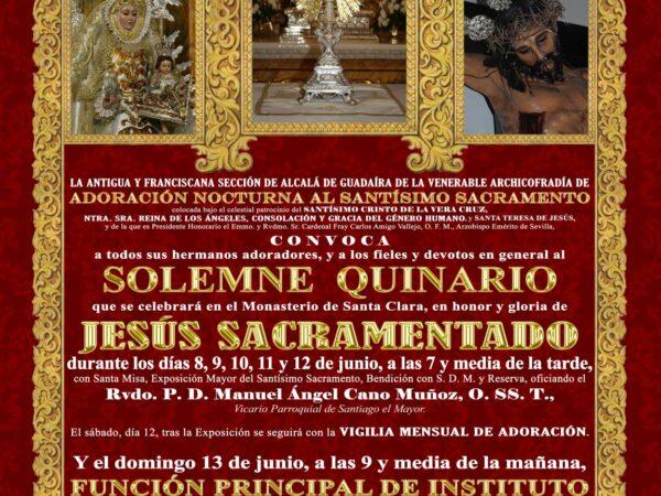 Solemne Quinario en honor y gloria de Jesus Sacramentado
