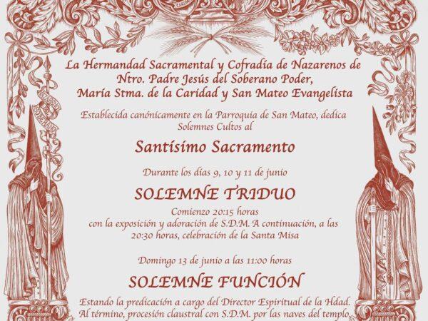 Solemne Triduo al Santisimo Sacramento, en la Hermandad del Soberano Poder